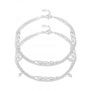 0.925 Silver Dual Chain Silver Anklets