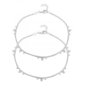0.925 Silver Dainty Silver Ankle Bracelets