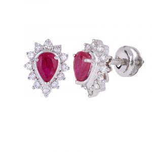 18k Diamond Ruby Diamond Studs