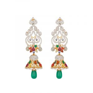 18k Diamond Navratna Peacock Drops