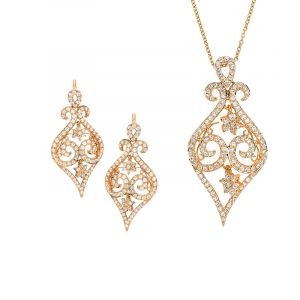Swirls Diamond Pendant Set