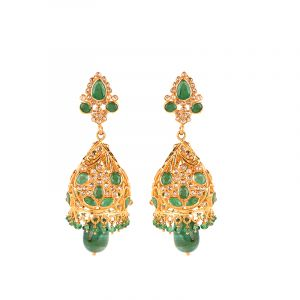 22k Diamond Aria Uncut Diamond Jhumkas