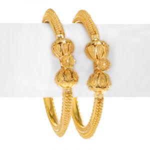 22k Gold Gold Pipe Kada Bangles