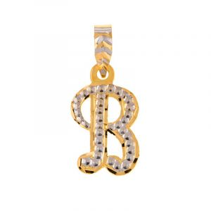 22k Gold 2-Tone B Letter Pendant