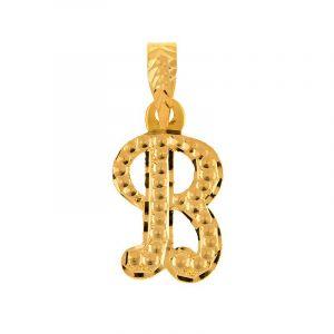 22k Gold Letter B Gold Pendant
