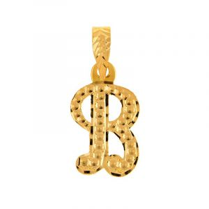 22k Gold Emboss B Initial Pendant