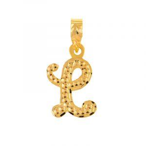 22k Gold Cursive L Gold Pendant