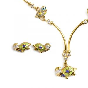 22k Gold Colorful Turtle Necklace