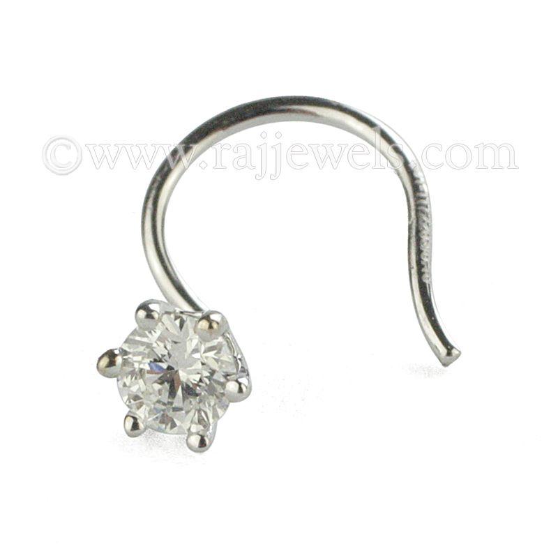 18k Diamond White Stud Nose Pin