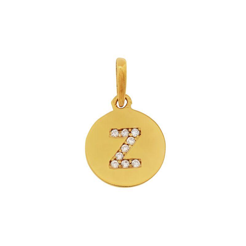 22k Gold Intial Z Disc Pendant