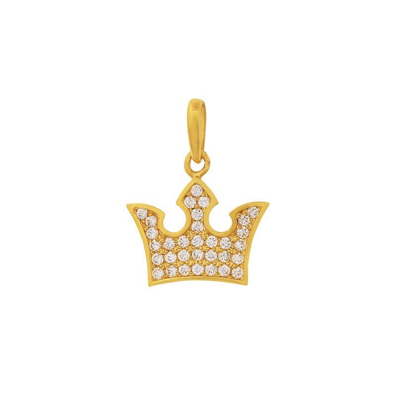 22k Gold Cz Crown Pendant