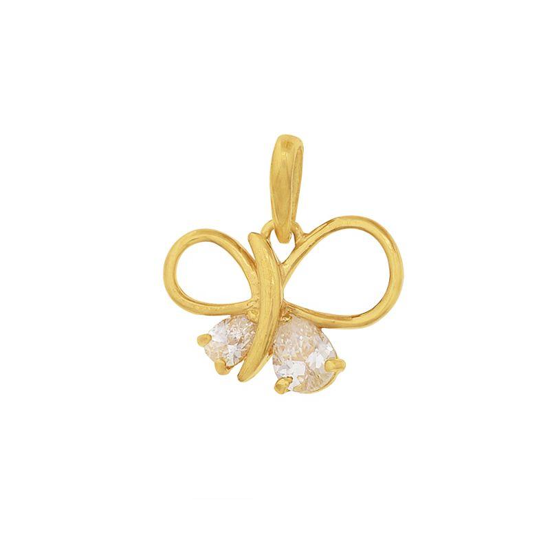 22k Gold Mini Cz Bow Pendant