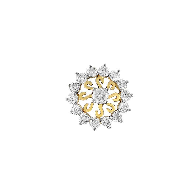 18k Diamond Sunburst Diamond Nose Pin