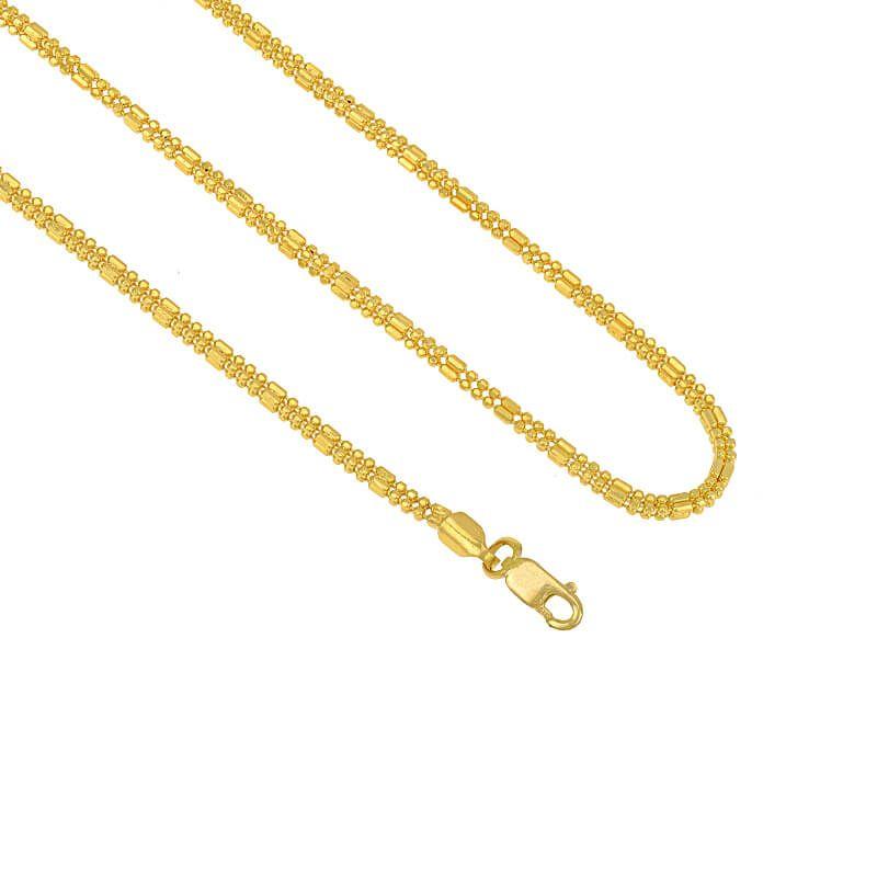 22k Gold Flat Beads Gold Chain - 16