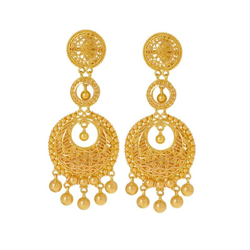 22k Gold Gold Chandbali Drops