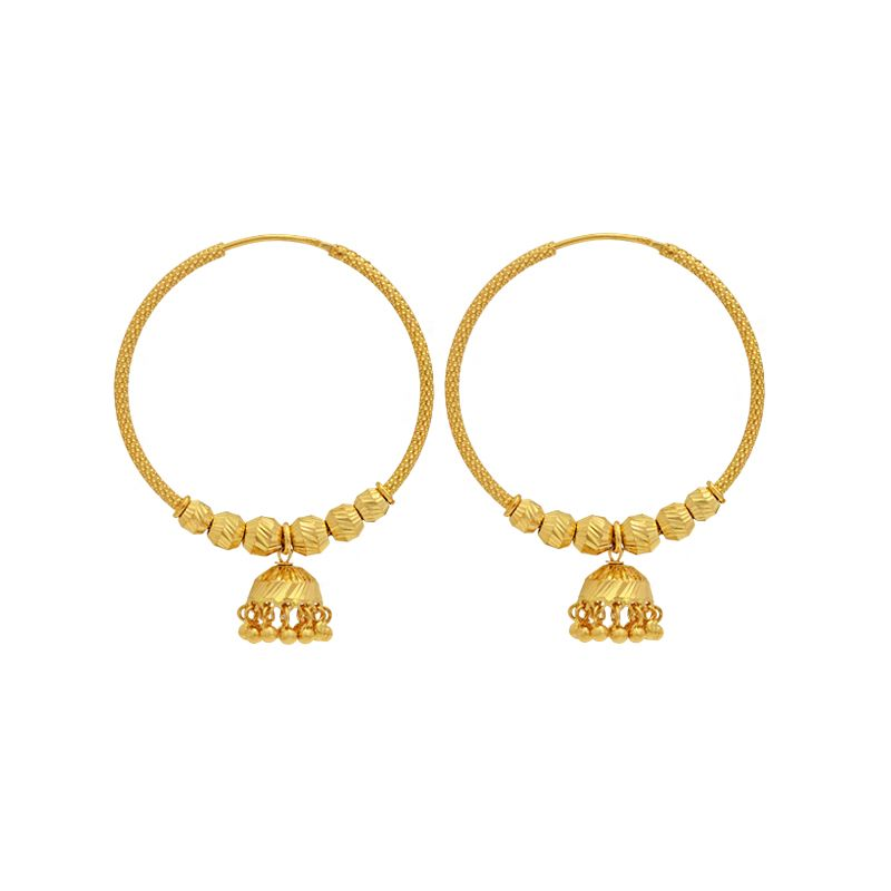 22k Gold Gold Jhumka Ear Hoops