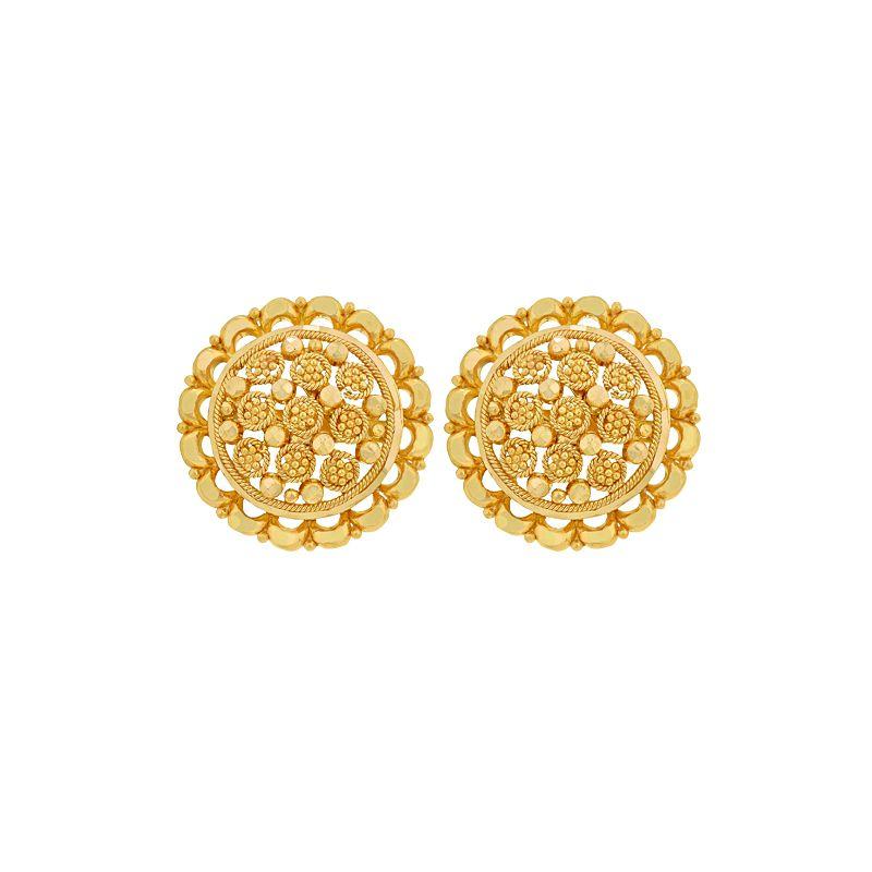 22k Gold Round Filigree Stud Earrings