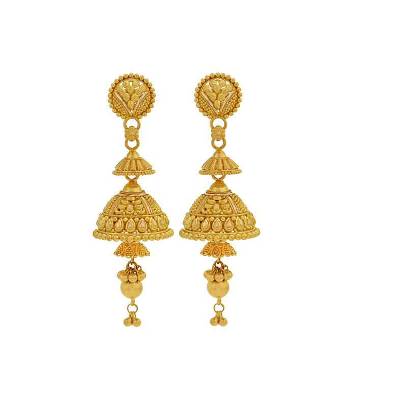 22k Gold 3-step Ghungru Jhumkas