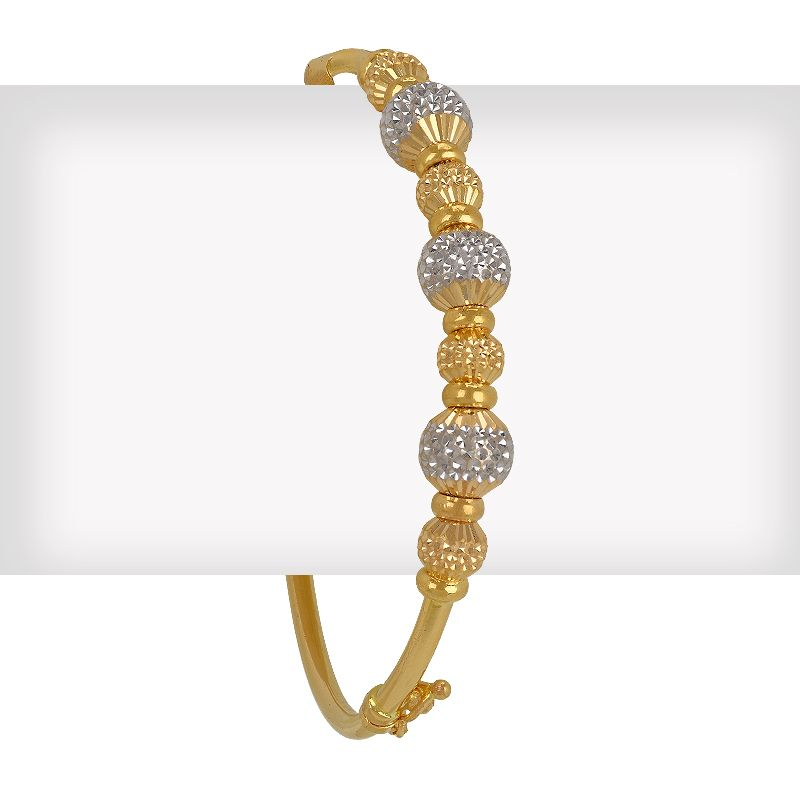 22k Gold 2-Tone Balls Bangle Bracelet