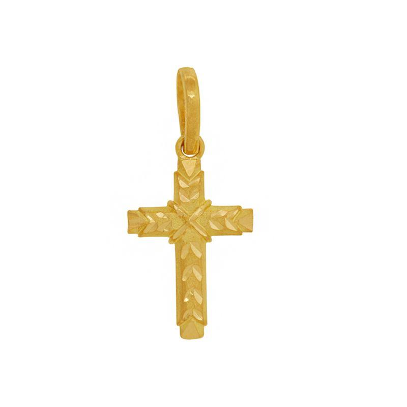 22k Gold Handcut Gold Cross Pendant