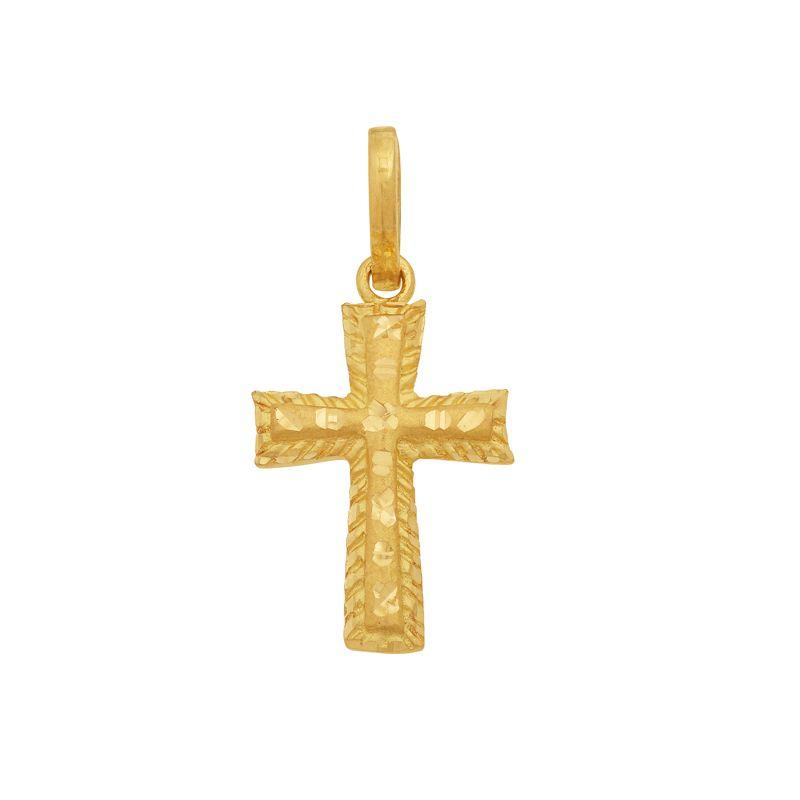 22k Gold Laser Cut Cross Pendant