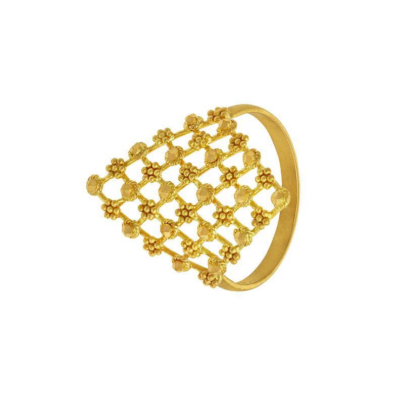 22k Gold  Jali Beaded Gold Ring