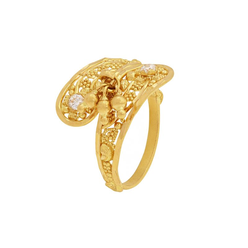 22k Gold Dangles Wrap Cz Ring