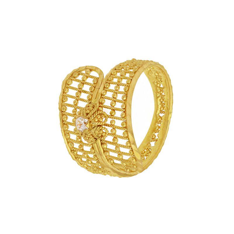 22k Gold Filigree Cz Wrap Ring