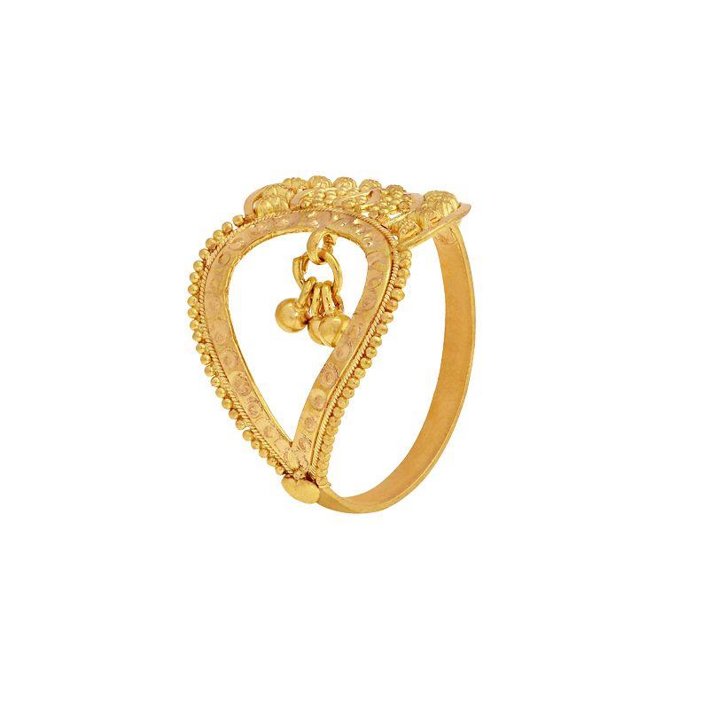 22k Gold Filigree Leaf Scroll Ring