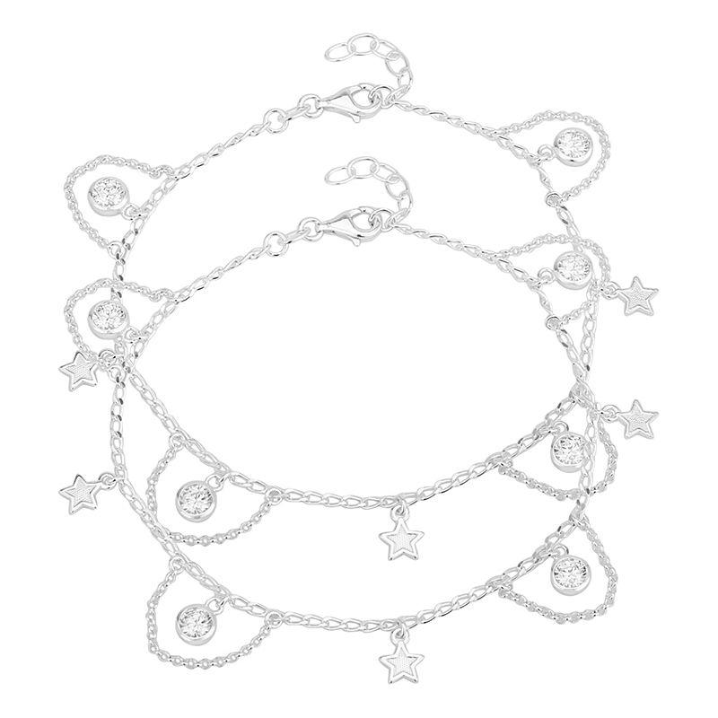 0.925 Silver Cz Stars Silver Anklets