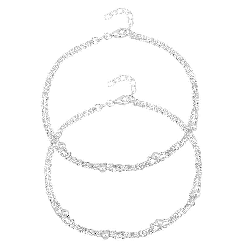 0.925 Silver Dual Chain Ball Anklets