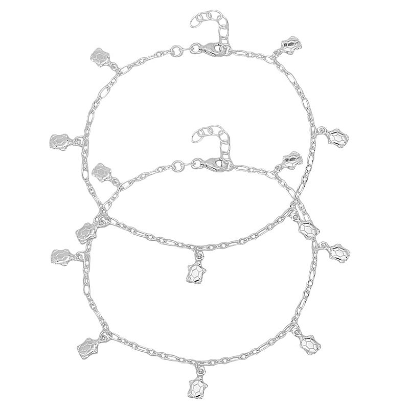 0.925 Silver Turtle Dangles Silver Anklets