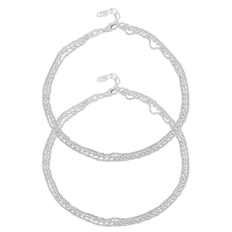 0.925 Silver Chain Ball Silver Anklets