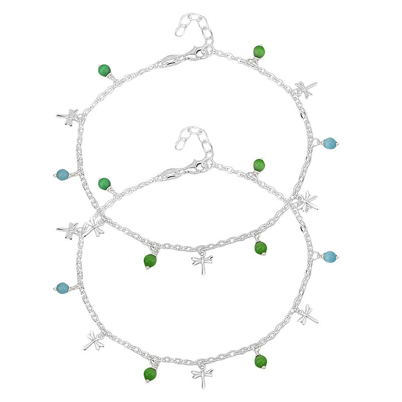 0.925 Silver Colorful Dangles Silver Anklets