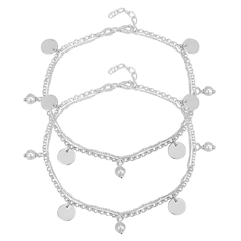 0.925 Silver Disc Charm Silver Anklets