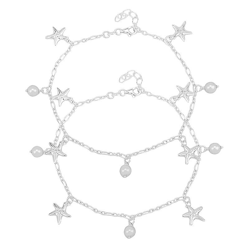 0.925 Silver Pearl Stars  Charm Anklets