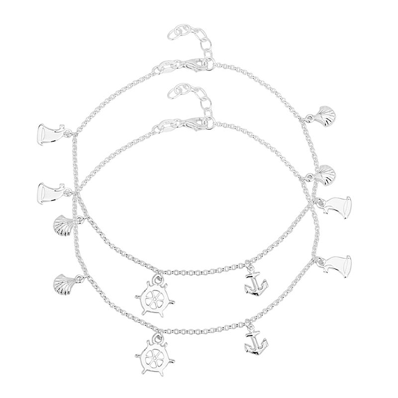 0.925 Silver Anchor Horse Charms Anklets