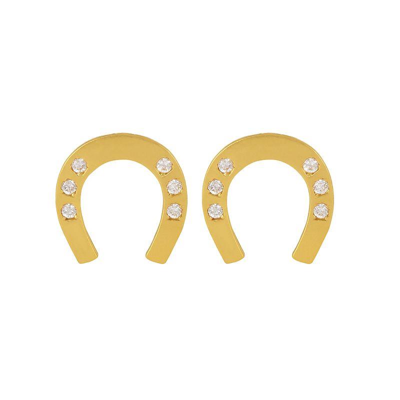 22k Gold Horseshoe CZ Gold Studs