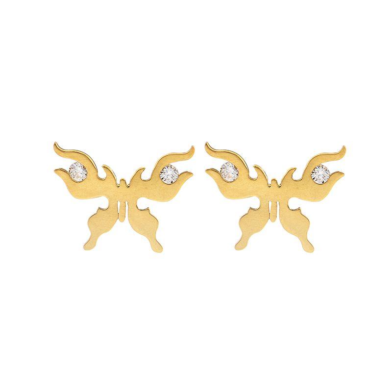 22k Gold Carved Butterfly Cz Earrings
