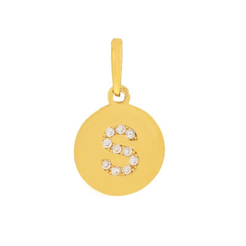 22k Gold Initial S Round Pendant