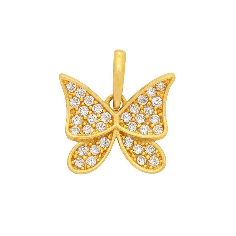 22k Gold Cz Butterfly Pendant