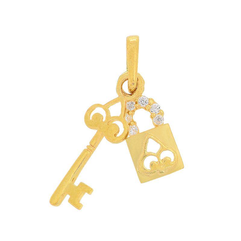 22k Gold Lock and Key Pendant