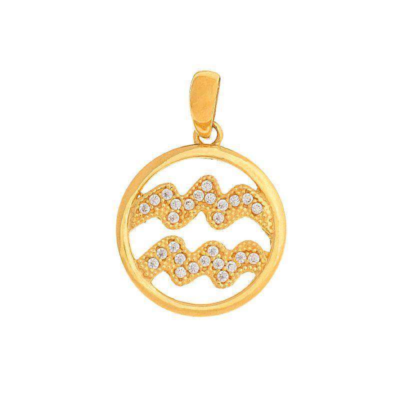 22k Gold Aquarius Cz Gold Pendant