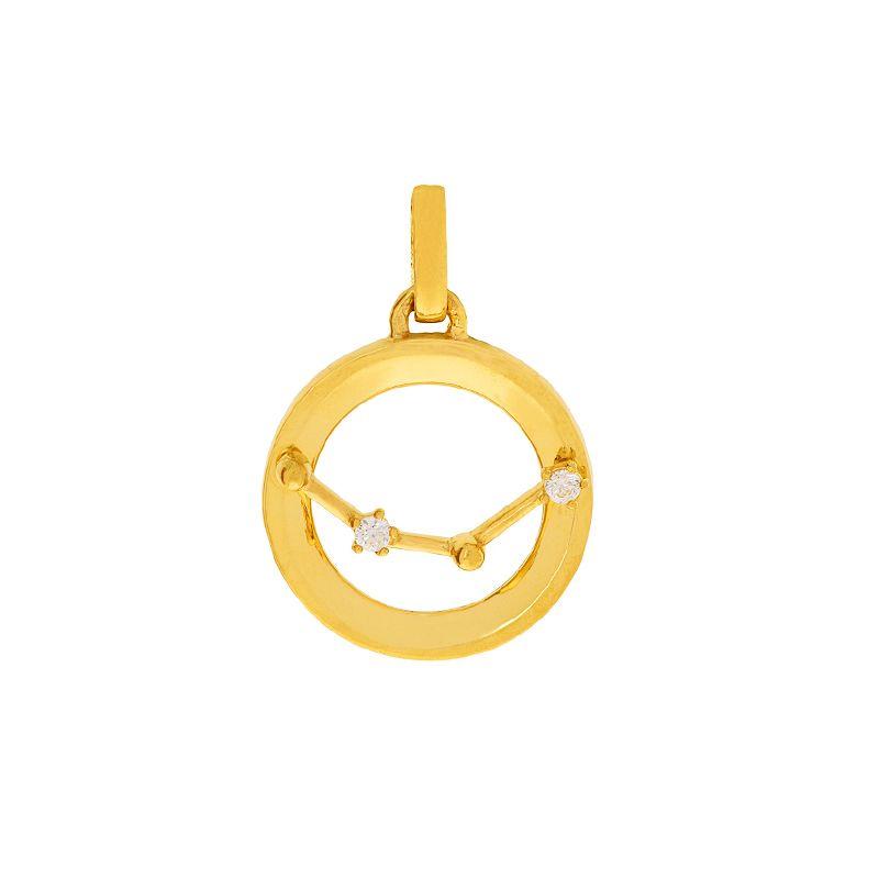22k Gold Astrology Cz Gold Pendant