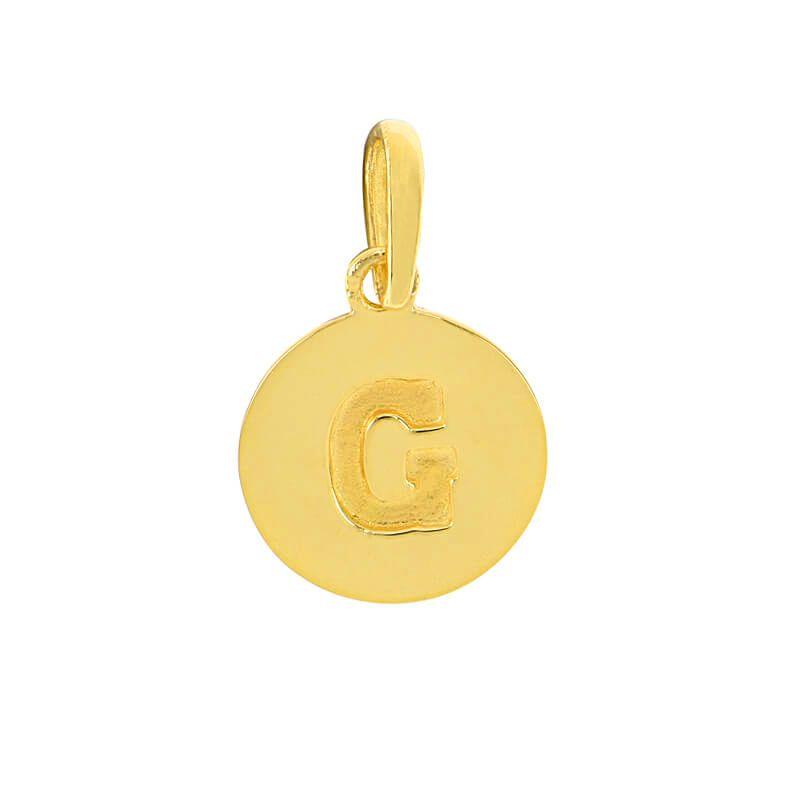22k Gold Initial G Round Pendant