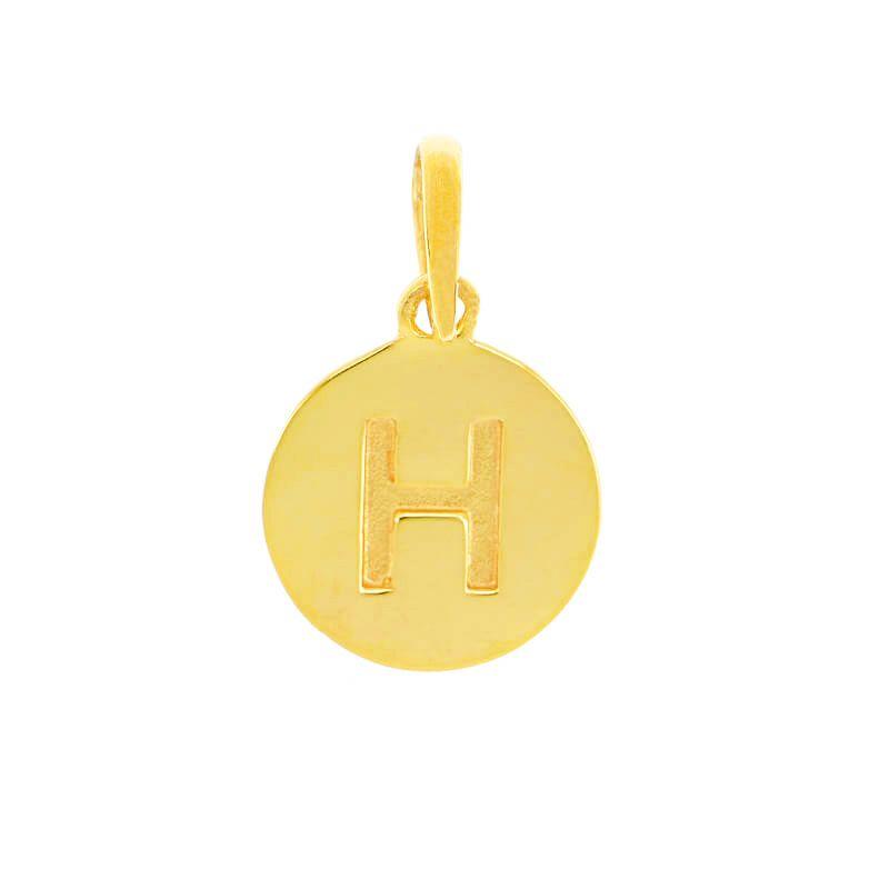 22k Gold Initial H Round Pendant