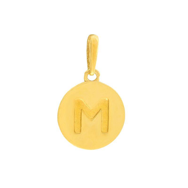 22k Gold Initial M Round Pendant