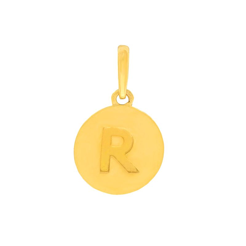 22k Gold Initial R Round Pendant