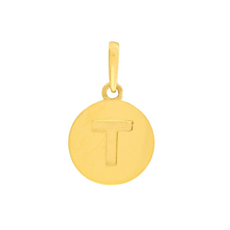 22k Gold  Initial T Round Pendant