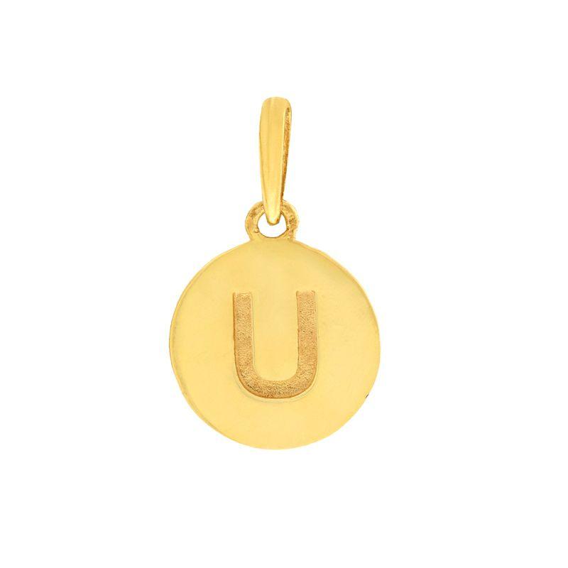 22k Gold Initial U Pendant